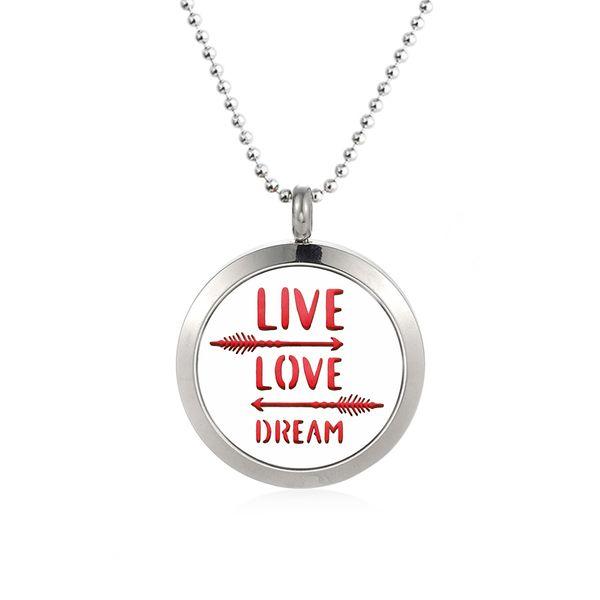 Hand gestempelt Live Love Dream 316L Edelstahl 25 / 30mm Pfeil ätherisches Öl Parfüm Diffusor Halskette Medaillon Anhänger mit 10 kostenlose Pads