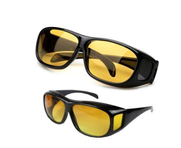 HD Visão Noturna Condução Óculos De Sol Dos Homens Lente Amarela Sobre Envoltório Em Torno de Óculos de Condução Escuro Óculos de Proteção Anti Glare 500 Pcs