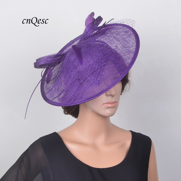 top popular NEW Purple fashion large saucer Sinamay Fascinator hat for Kentucky derby, party,wedding,races,church,formal occasion 2019