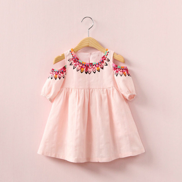 2018 INS hot selling summer girl kids off shoulder dress kids round collar sleeveless back hollow out elegant dress