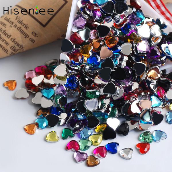 500PCS Shiny Acrylic Heart Shape Acrylic Rhinestone Design 3D Charm Nail Art DIY Gorgeous Evening Dress Accessories Decoration