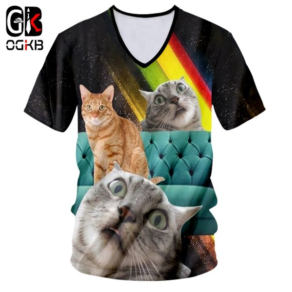 OGKB T-shirt Male Fashion V-neck Slim Fit Animal 3D Tee Shirt Printing Rainbow cat Funny Large Size Attire Unisex T Shirts