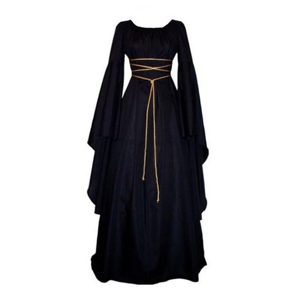 Femmes médiévale Vintage victorienne renaissance gothique Costume robe de bal manches longues parole longueur robe H7