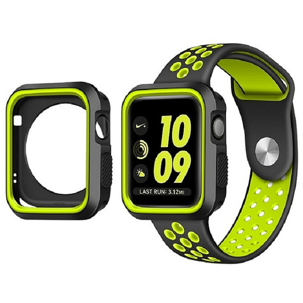 Silicone Watchband for Apple Watch 38mm 42mm Strap Band & Protective Frame Case for iWatch 1 2 3 Series Sports Band with Hole Loops