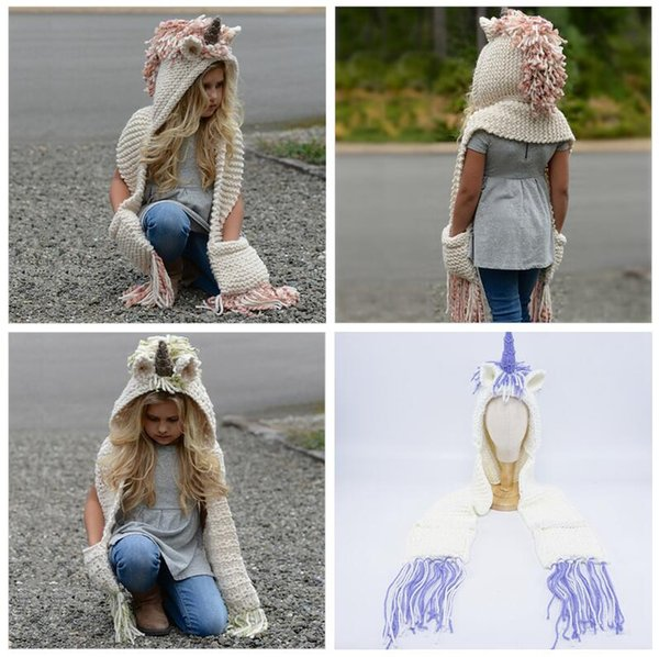 2 in 1 unicorn scarf cap Kids Infant Llama Warm Knitted Hats Children AMUSE cartoon warmer Winter crochet Hat 30pcs 3styles AAA1013
