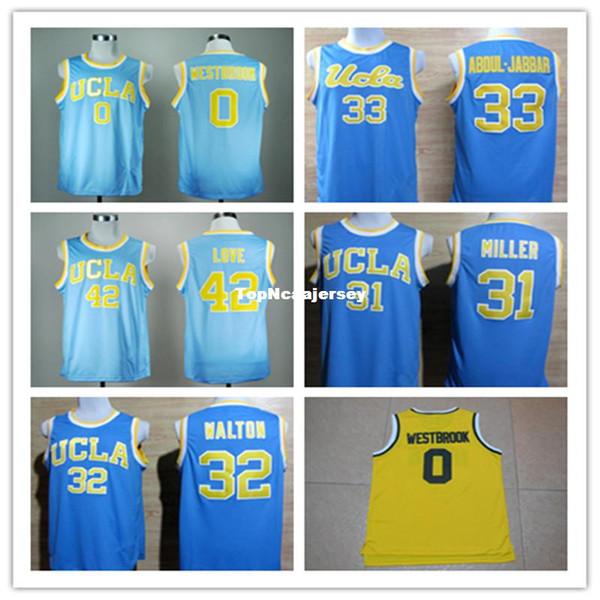 Cheap 42 Kevin Love Shirt 33 Kareem Abdul Jabbar 0 Russell Westbrook 31 Reggie Miller 32 Bill Walton UCLA Bruins Basketball Jerseys