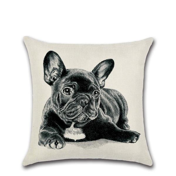Free Shipping Decorative Dog Pillow Covers Cotton Linen French Bulldog Pillowcase Car Sofa Animal Cushion Cover Home Decoration Home Textile