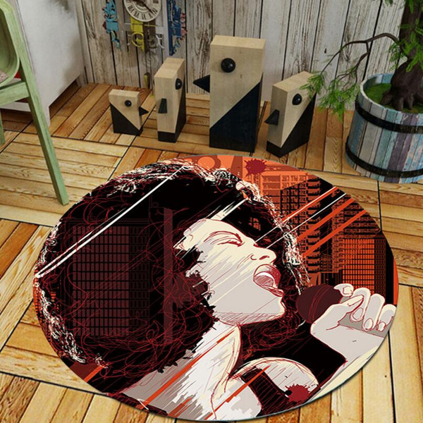 Anti-skid Modern 3D print Abstract style Drawing Room Round Carpet Living Room Floor Rug Kids Bedsides Mat Computer chair foot pad Washable