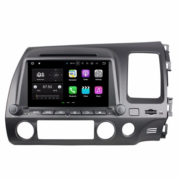 "1024*600 Android 7.1 Quad Core 2 din 8"" Car DVD Car radio dvd GPS Multimedia Player for Honda Civic RHD 2006 2007 2008 2009 2010 2011"