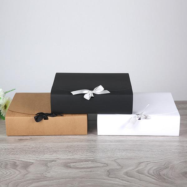 Scatola regalo in carta kraft nera / bianca / marrone per t-shirt Sciarpa Abiti Abiti Regalo di compleanno Scatola bomboniera Scatola grande