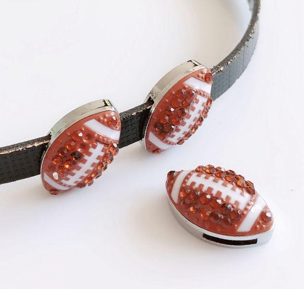 5pcs 8mm Full Rhinestone Football Sports Charms Slide Charms Fit Pet Dog Cat Collar Belts Wristband Jewelry Making