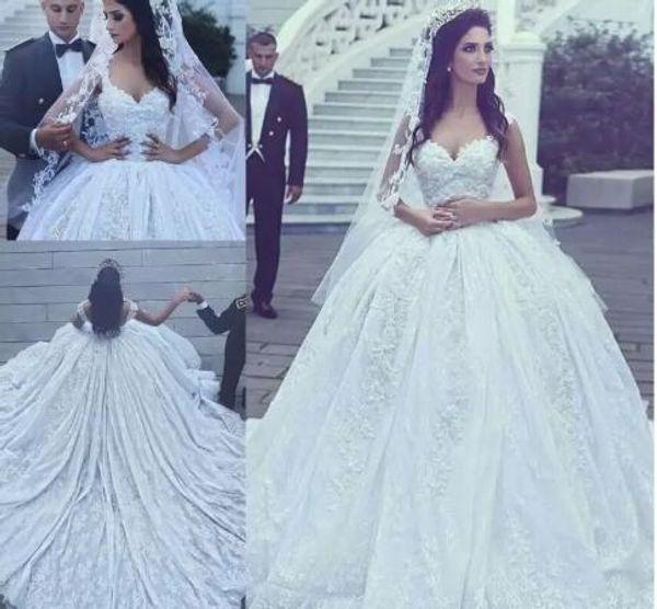 2017 New Arabic Style Luxury A-line Wedding Dresses Lace Appliqued Beaded Chapel Train Ball Gown Princess Lace Vestidos De Novias