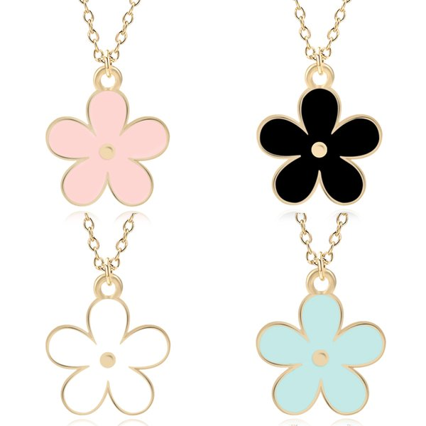 Sweet Enamel Colorful Flower Charm Pendants Cute Mini Metal Gold Chain Daisy Plants Statement Necklaces For Women Jewelry Colar