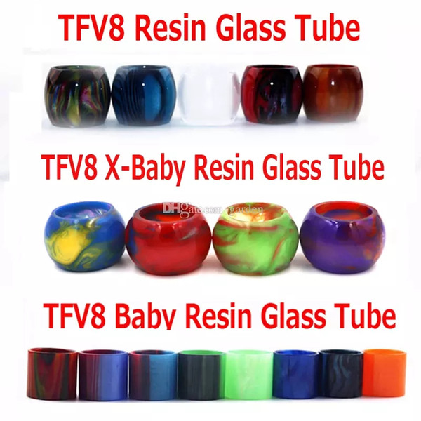 best selling olorful Resin Glass Replacement Epoxy Expansion Tube Drip Tips Tubes For TFV8 Baby X-Baby TFV12 Prince Tank Atomizer In Stock