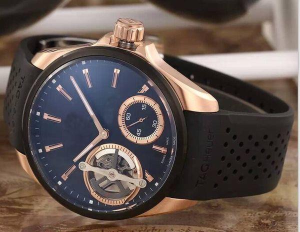 Son sürümü Lüks erkek Şeffaf Arka Kalibre Izle Sarkaç Etiketi Büyük Otomatik Spor erkek Saatler