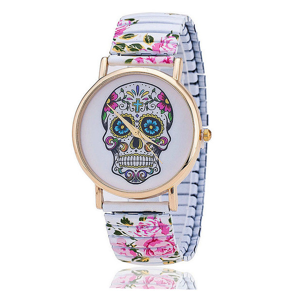 Dropshipping Fashion Skull Gothic Flower Watches Casual Women Wristwatches Quartz Watch  Hot