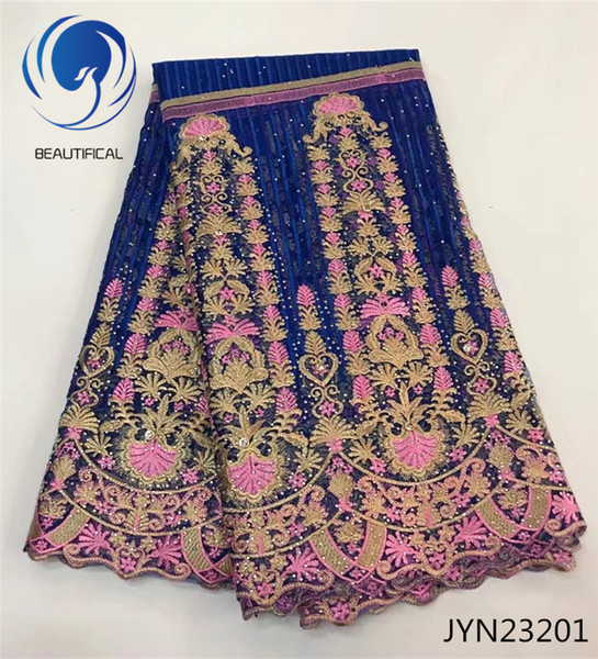 Good quality french lace fabric with stones African lace fabric latest tulle laces fabrics for 5 yards dress material jyn232