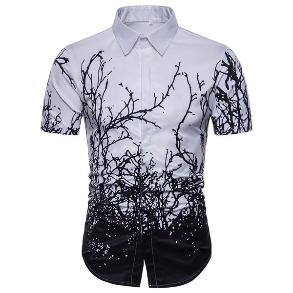 Ink Splash Shirt Men Party Hot Sale Blusa Vintage Tree Print Shirts New Arrival Elegant Casual Smart Streetwear Short Sleeve Top