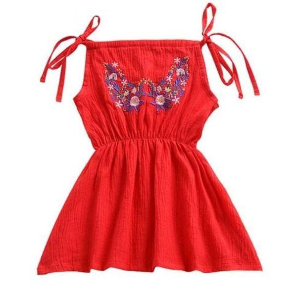 Kids Baby Girls Dress Shoulder Strap Beach Dress For Girls Red Flower Embroidery Harness Dress Toddler Summer Clothes