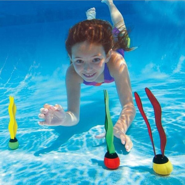 Sea Plant Shape Diving Toys Swimming Pool Toys Underwater Fun for Swimming Training 3pcs Per Set OOA4779