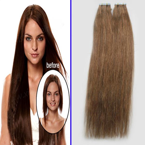 Nastro in estensioni dei capelli umani 10-24 pollici doppio nastro di Remy trafilato in naturale capelli lisci su adesivi 100g 40 pz / set capelli invisibili