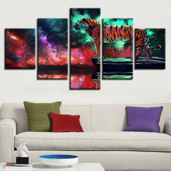 HD Prints Canvas Modular Wall Art 5 Pieces Tiger Animal Painting Nebula Scenery Artwork Picture Framework Poster Home Decoration