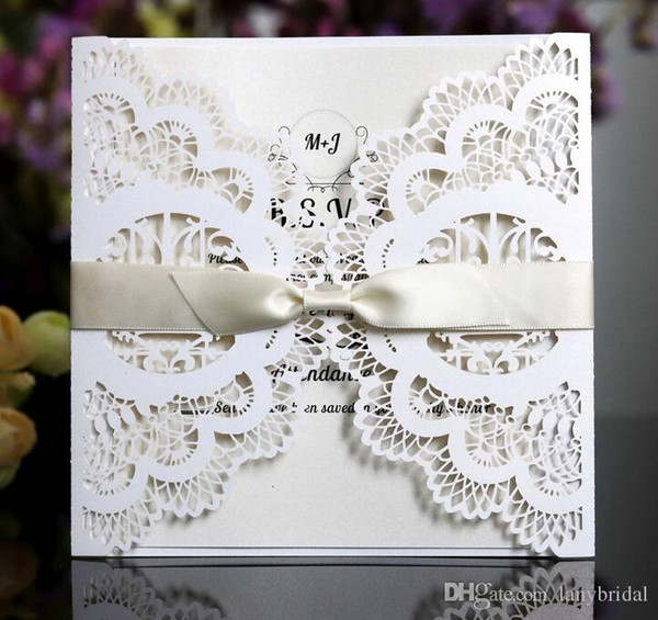 2018 White Color Laser Cut Wedding Invites With Print Customized Wording, Free Shipping Via UPS, 20+ Colors Available