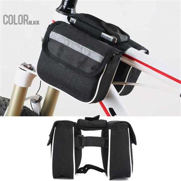 Bicycle Phone Bag Waterproof Bike Cycling Front Frame Tube Handlebar Pannier Double Pouch Phone Bag 14.5cm x 4.5cm x 11.0cm #2
