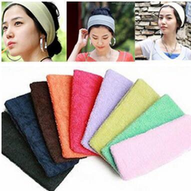 Art- und Weisemädchens des Mädchens 10pcs / lot Süßigkeitfarbe multi Farbe Sport-Yoga hairband unisex breites Haarband-Tuchmateriallänge ungefähr 17cm am neuesten
