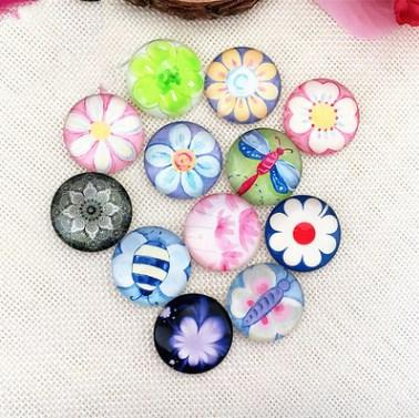 50pcs 2018 HOT selling Colorful flower galss Snap button Charm Popper for Snap Jewelry picture pendant