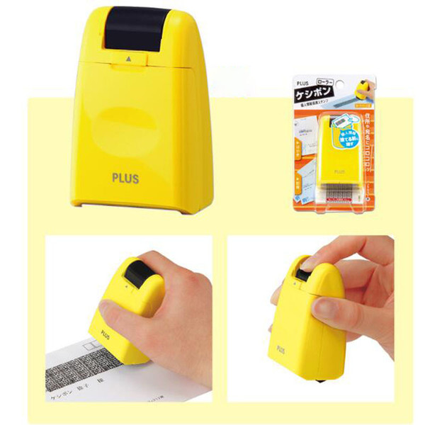 top popular New Wholesale-protect Id Black Out Stamps Identity Theft Protection Stamp Self Ink Stamp Roller free shipping 2021