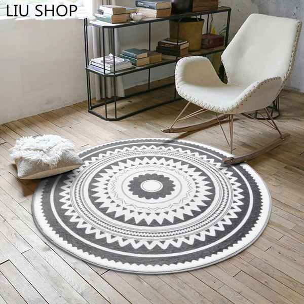 Nordic fashion round carpet coffee table room bedroom living room Rug garden kids mat computer chair swivel chair cushion Blanket