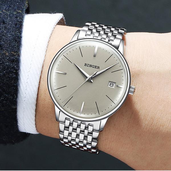 Suíça BINGER 8 MM ultra-fino Relógio Mecânico Automático Dos Homens Da Marca de Luxo Relógios dos homens Sapphire Relógio de Pulso Masculino À Prova D 'Água
