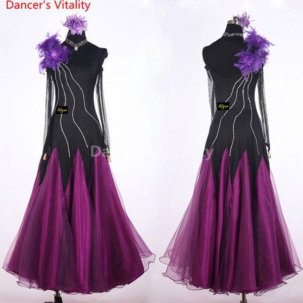 Girls Modern Dance Dress Diamond Customized Perspective Long Sleeves Splicing Performance Suits Ballroom National Standard Waltz Jazz Dance