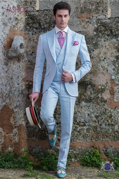 Brand New Groomsmen Baby Blue Groom Tuxedos Peak Lapel Men Suits Wedding Best Man Bridegroom (Jacket + Pants + Vest + Tie) L150