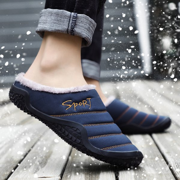 Winter Half Slippers For Men Brand Big Size Slides Shoes Comfortable Indoor Floor Shoes Rubber Sole Home Thick Cotton Slippers