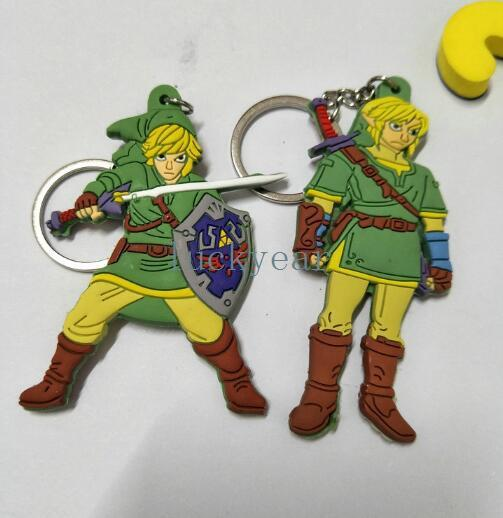 New Japanese anime The Legend of Zelda Double Sided PVC Keychain Action Figure Pendant Keyring Collection Gift Y48