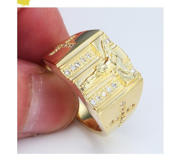 Europe and America hot sale cross ring plated with 18k platinum and diamond men ring