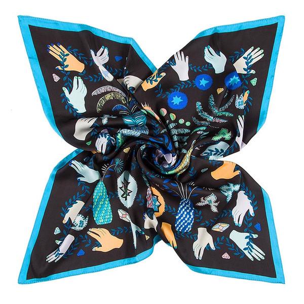 New Women Girls Euro Style Hotel Waiter Flight Attendants Business Printing Square Imitate Silk Scarf Scarves 60x60cm Brand Designer Muffler