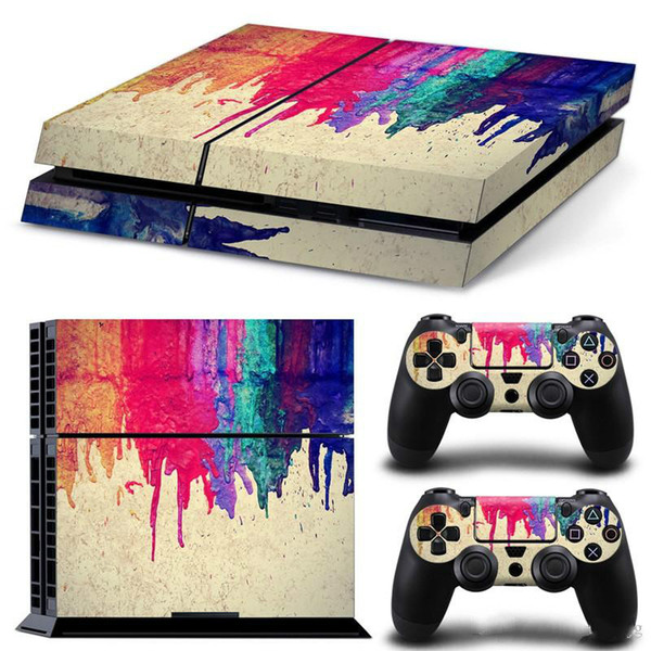 2019 ARRKEO Painting Vinyl Cover Decal PS4 Skin Sticker for Sony PlayStation 4 Console & 2 Controller Skins Stickers Colourful