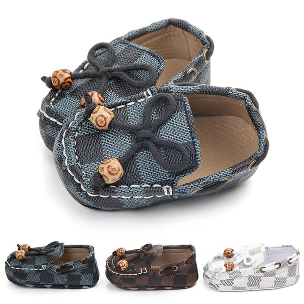 Newborn Baby Girls Boys Leather Crib Shoes Peas Shoes Soft Sole Infant First Walkers