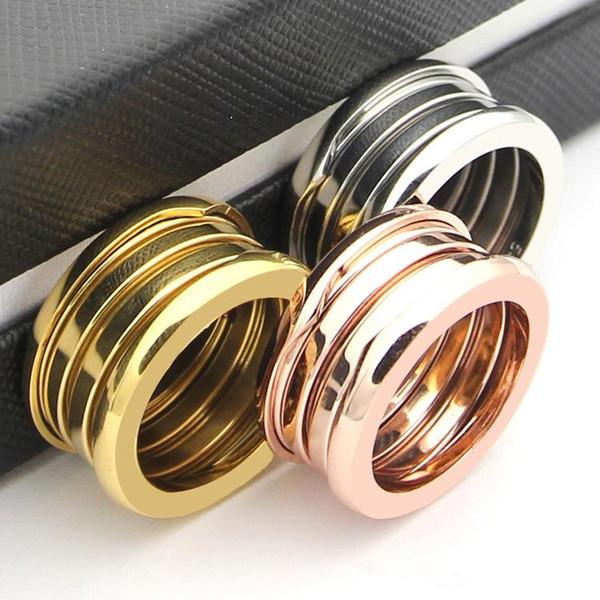 Ünlü Marka Gül Altın Bobin Bahar Yüzükler Titanyum Paslanmaz Çelik Gümüş 18 K Altın Trisiklik BV Çift Band Yüzükler Moda Takı