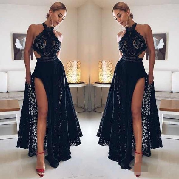 Elegant Halter Neck Prom Dresses Sexy Black Lace Appliques High Side Split Evening Gowns Plus Size Custom Made