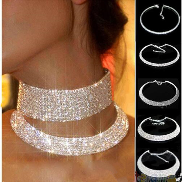 Collier Collares Maxi Necklace Wedding Bridal Jewelry Elastic Cord Pageant 1 2 3 Row Stretch Crystal Rhinestone Choker Necklaces
