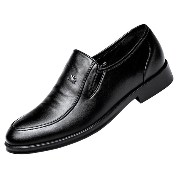 Mens Classic U-tip Leather Lined Derby Loafer Business Dress Shoes Slip On Formal Plain Toe Shoes for Special Occasion