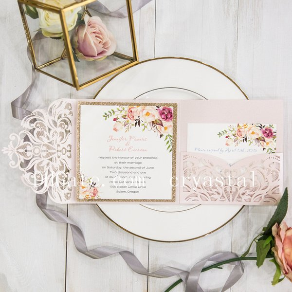 Romantic Blush Pink Spring Flower Glittery Laser Cut Pocket Wedding Invitation Kits, Free Shipped by UPS
