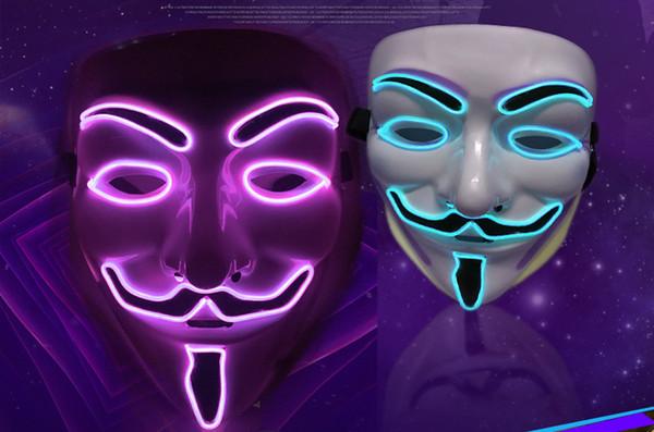 2020 EL cable fantasma máscara de rendija de la boca sombreros Light Up LED que brilla intensamente máscara máscaras del partido de Cosplay de Halloween