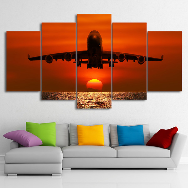 HD Printed 5 Pieces Canvas Art Painting Sunset Airplane Sunset Wall Pictures For Living Room Free Shipping