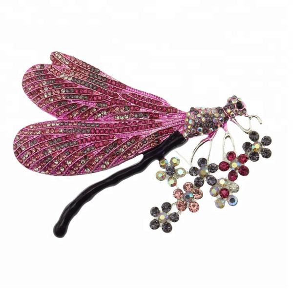 4.3 Inch Insect Dragonfly Flower Brooches For Women Blue/Purple Animal Crystal Rhinestone Pin Brooch
