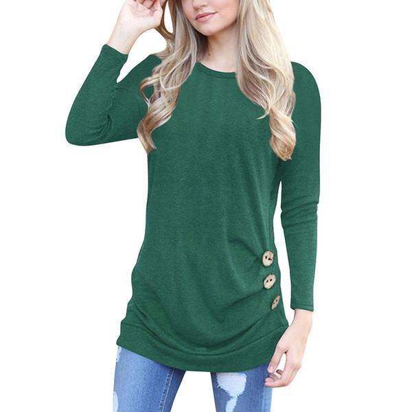 2018 T Shirts Women Plus Size Button Long Sleeve t shirts Women Plus Size Casual Tops Lady Clothing Round Neck